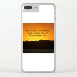 Christian Artwork: The beloved of the Lord shall dwell in safety by Him, God, Love, NZ Clear iPhone Case