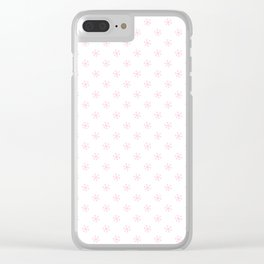 Cotton Candy Pink on White Snowflakes Clear iPhone Case