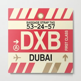 DXB Dubai • Airport Code and Vintage Baggage Tag Design Metal Print