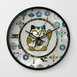 Maneki Neko Lucky cat on  pearl and abalone Wall Clock
