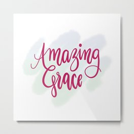 Amazing grace - pink brush script Metal Print