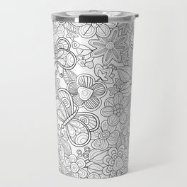 butterfliesd and flowers in black Travel Mug