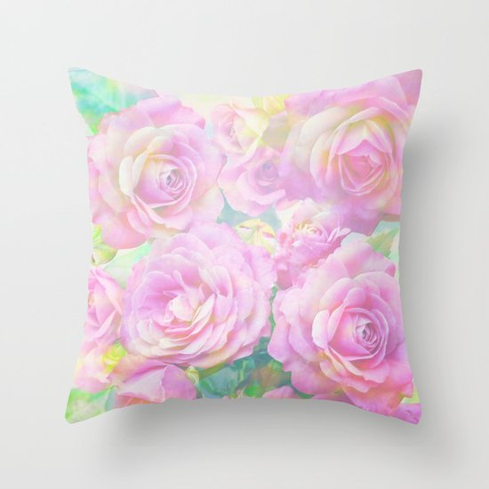 Lush, pink, painterly roses Throw Pillow by Thea Walstra Society6