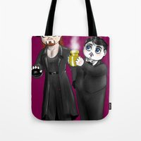 wwe Tote Bags featuring Chibi WWE - Undertaker and Paul Bearer 1 by Furiarossa