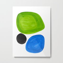 Mid Century Vintage Abstract Minimalist Colorful Pop Art Lime Green Phthalo Blue Black Bubbles Metal Print