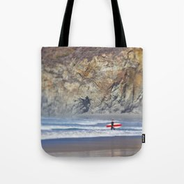 Surfer with Red Board in Big Sur Tote Bag