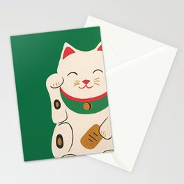 Green Lucky Cat Maneki Neko Stationery Cards