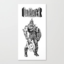 The Darkslayer (White on Black) Canvas Print