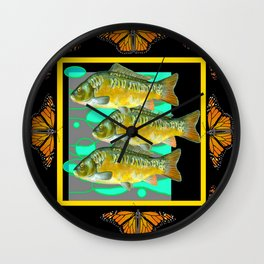MODERN  MONARCH BUTTERFLIES FISH BLACK  AQUATIC  COLLAGE Wall Clock