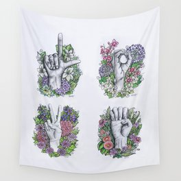 LOVE ASL Art- square version Wall Tapestry