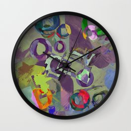 Living In A Purple Dream - Abstract, eclectic, random, purple. lilac, pastel artwork Wall Clock