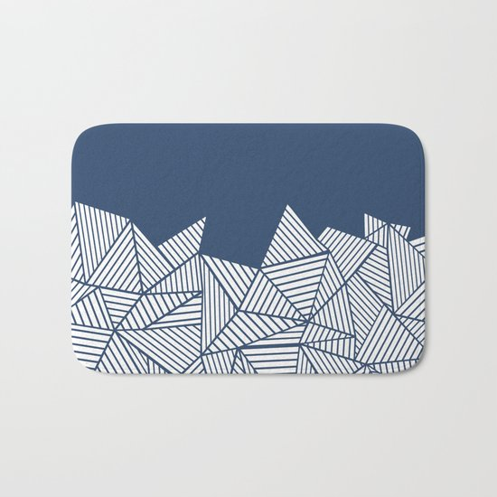 Abstract Mountain Navy Bath Mat