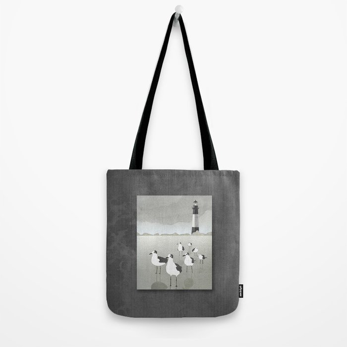 Seagulls Lighthouse Tote Bag