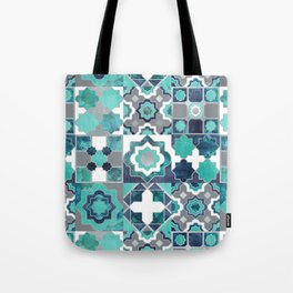 Spanish moroccan tiles inspiration // turquoise green silver lines Tote Bag