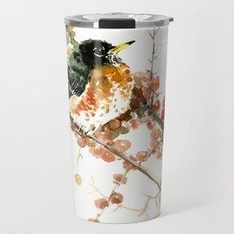 American Robin And Berries, orange bird art Travel Mug