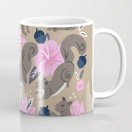 Squirrels & Blooms – Navy & Blush Coffee Mug