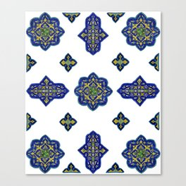Samarkand blue and yellow ornament Canvas Print