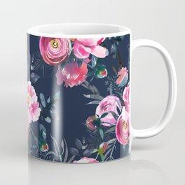 Navy and Bright Pink Floral Print Coffee Mug