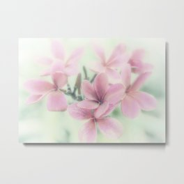 Plumeria Mint Green Metal Print