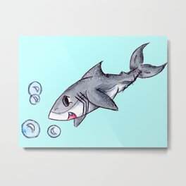 Bubble Shark Metal Print