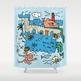 Sea Doodle World Animals by Pablo Rodriguez (Pabzoide) Shower Curtain