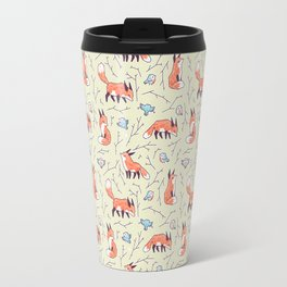 Fox and Bird Pattern Travel Mug