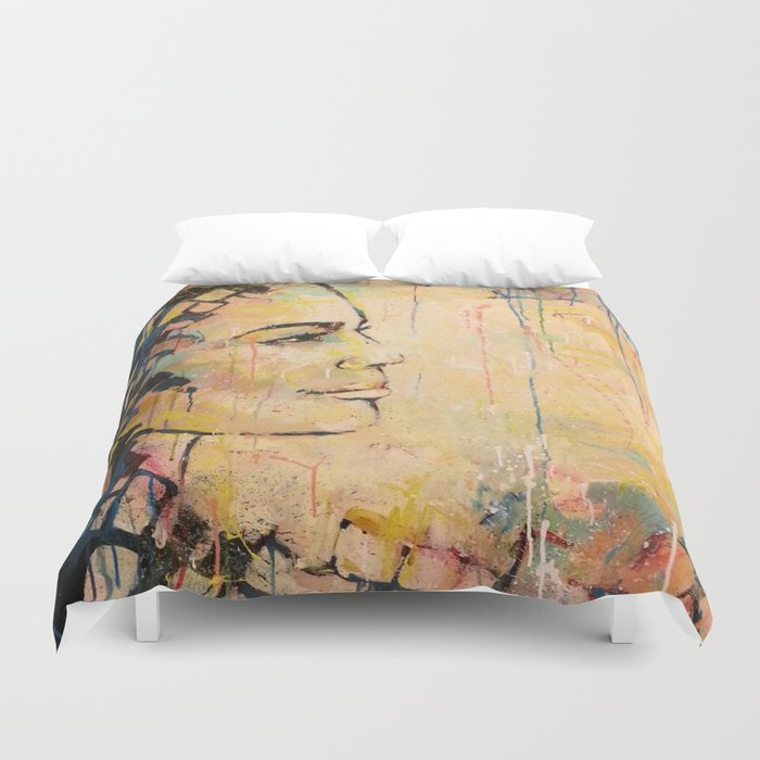 Looking to the Future -beautiful woman Duvet Cover