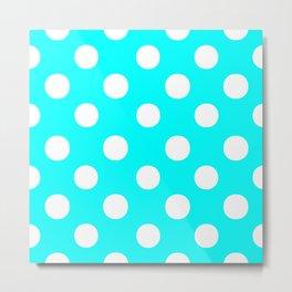 Polka Dots (White/Aqua Cyan) Metal Print