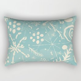 Winter Snowflakes and Doodles Rectangular Pillow