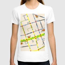 Tel Aviv map - Rothschild Blvd. Hebrew T-shirt