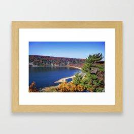 Fall colors at Devils Lake Framed Art Print