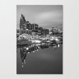 Nashville Skyline On the Cumberland River - Monochrome Edition Canvas Print