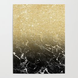 Modern girly luxurious faux gold glitter black marble pattern Poster