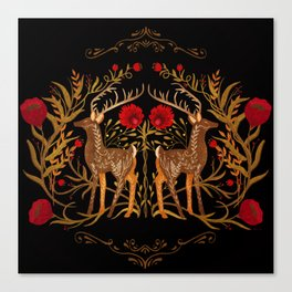 Two Stags Protecting The Dark Forest Gate Canvas Print