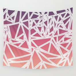 Purple Pink Peach Gradient Triangles Geometric Wall Tapestry