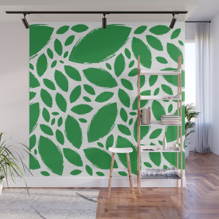 Painted Tree Leaves V1 Green Wall Mural By Roxart