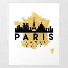 PARIS FRANCE SILHOUETTE SKYLINE MAP ART Art Print