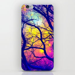Black Trees Deep Bright & Colorful Space iPhone Skin