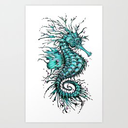 Cyan Seahorse Art Print