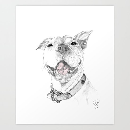A Smile is Worth a Thousand Words :: A Pit Bull Smile Art Print