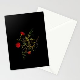 Mesembryanthemum Tenuifolium Mary Delany Delicate Paper Flower Collage Black Background Floral Stationery Cards