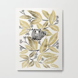 Happy Sloth – Tropical Gold Leaves Metal Print