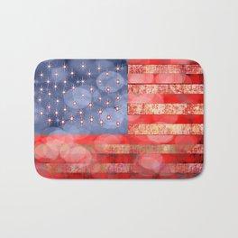 Distressed American Flag with Bokeh Lights Bath Mat