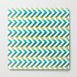 Chevron Picnic Time - Geometric pattern with blue and green Metal Print
