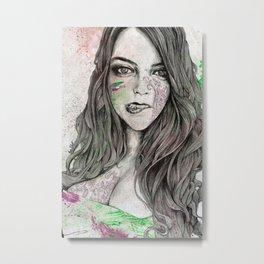 U-Turn (busty girl with mandala tattoos) Metal Print