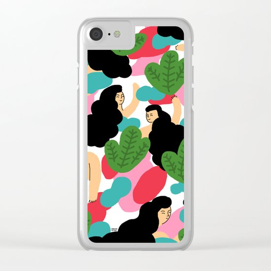 Girl Pattern Leaf Clear iPhone Case