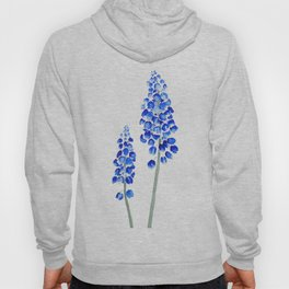 2 abstract blue grape hyacinth watercolor Hoody