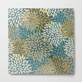 Floral Pattern, Teal, Gold, Beige Metal Print