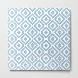 Mid Century Modern Diamond Ogee Pattern 135 Pale Blue Metal Print