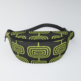 Mid Century Modern Atomic Rings Pattern Black and Chartreuse Fanny Pack